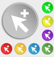 Cursor arrow plus add icon sign Symbols on eight vector image vector image
