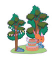 cute and little fox with sweet cake vector image