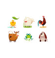 cute cartoon animals set chicken sheep cock vector image vector image