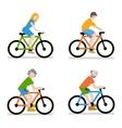Cyclists riding bike set vector image