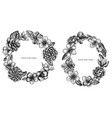 floral wreath black and white hibiscus plum vector image vector image