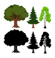 forest tree elements green ans black vector image
