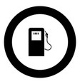 gas station icon black color in circle vector image vector image