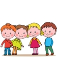 Group of four kids looking in one direction vector image vector image