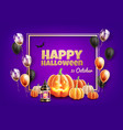 halloween poster with scary pumpkin balloon vector image vector image