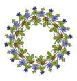 hand drawing wild herbs wreath - bur-marigold vector image