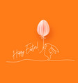 happy easter cute rabbit with air balloon vector image vector image