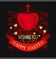 happy easter greeting card for easter with cross vector image vector image