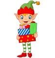 Happy green elf boy costume holding birthday gifts vector image vector image