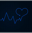 heartbeat cardiogram graph blue line in heart vector image vector image