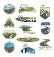 icons road travel or tourist trip company vector image vector image