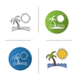 Island icons vector image vector image