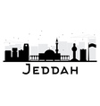 Jeddah City skyline black and white silhouette