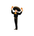 mexican musician mariachi with maracas isolated vector image