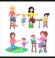 mothes feeding naughty children set on white vector image vector image