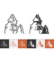 mountain simple black line peak mount icon vector image vector image
