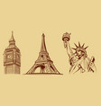 new york-paris-london-tourist symbols vector image