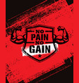 no pain no gain gym workout motivation quote vector image vector image