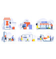 online shopping mobile shopping internet store vector image vector image