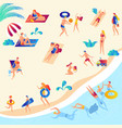 people rest swimming in sea sunbathing vector image