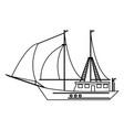 sailboat ship symbol black and white vector image