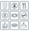 set of 9 restaurant icons includes fork knife no vector image vector image