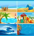 set summer beach landscape vector image vector image