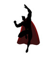 silhouette of a superhero in flying pose vector image vector image