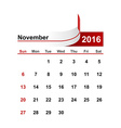 simple calendar 2016 year november month vector image