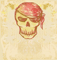 Skull Pirate - retro card vector image