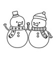 snowmen with hats holding hands decoration merry vector image vector image
