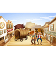 Two dangerous armed men near the saloon bar vector image vector image