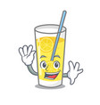 waving lemonade character cartoon style vector image vector image