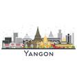 yangon myanmar city skyline with gray buildings vector image