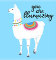 you are llamazing hand drawn lettering adorable vector image vector image