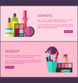 cosmetic and makeup set poster vector image