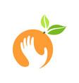 orange and hand logo label emblem design vector image