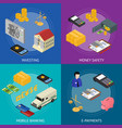 bank banner card set isometric view vector image vector image