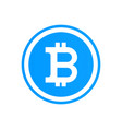 bitcoin flat logo on blue background bitcoin vector image