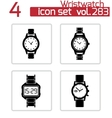 black wristwatch icons set vector image vector image