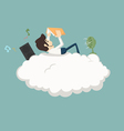 Businessman resting on a cloud vector image