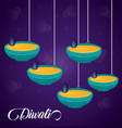 candles hanging diwali festival icon vector image vector image