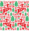 christmas folk red and green seamless pattern vector image vector image