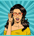 comic winking attractive woman vector image vector image