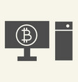 computer and cryptocurrency solid icon bitcoin on vector image vector image