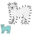 connect dots and draw a cute polar bear vector image vector image