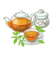 cup with teapot and sugar bowl vector image vector image
