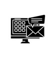 e-mail black icon sign on isolated vector image vector image