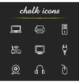 Electronic equipment chalk icons set vector image vector image
