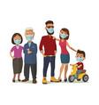 family in blue medical masks color flat vector image vector image